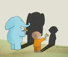 An elephant and a child handing a flower to their shadows