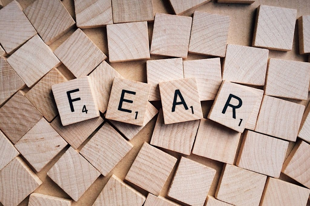 The Word FEAR in Scrabble letters