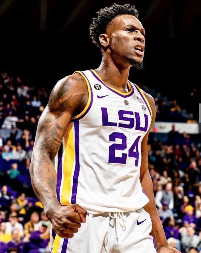 This image has an empty alt attribute; its file name is Emmitt-in-his-LSU-Uniform-on-the-Court-811x1024.png